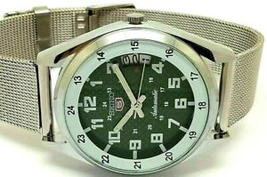 seiko 5 automatic men's steel green dial 6309 vintage day/date japan watch run