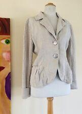 Blue Willi's -Sz M Denmark Natural Woven Cotton Beige Sweater Jacket Blazer