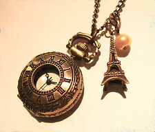 Alice in Wonderland Jewellery -I Love Paris Clock Necklace-Vintage Pocket Watch