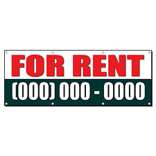 FOR RENT Custom Phone Number 3 ft x 6 ft Banner Sign w/6 Grommets