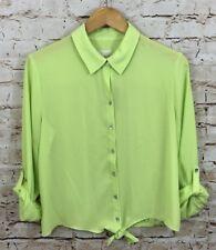 Chicos Tie Front Blouse Womens 1 Medium Tessa Apple Green Roll Cuff SLV H7