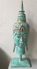 TURQUOISE TIMBER BUDDHA HEAD ON STAND