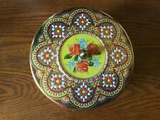Vintage Daher Round Tin Container Embossed Floral Design Made in England