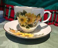 Duchess Yellow White Daisies Floral Tea Cup Saucer Gold Trim Bone China England