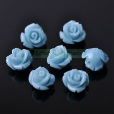10pcs Coral Resin Rose Flower Loose Spacer Beads Crafts Charms Finding 10mm 12mm