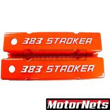 "Small Block Chevy Raise Bowtie ""383 Stroker"" log Orange Valve Cover SBC Aluminum"