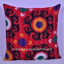 "24"" COTTON INDIAN KANTHA QUILTED PILLOW CUSHION COVER DECOR THROW HANDMADE BOHO"