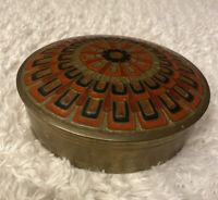 Vintage Large Brass Enamel Art Deco Vanity Box Trinket Holder Red Orange Black
