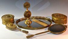 AWESOME VINTAGE APOLLO ORNATE FILIGREE GOLD ORMALU VANITY 9-PIECE DRESSER SET