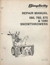 SIMPLICITY SNOWTHROWERS 560,760,870,1080 REPAIR SERVICE MANUAL TP-951 (497)