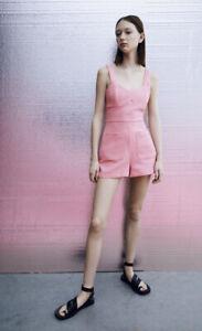 ZARA NEW Textured Playsuit Pink New Size M