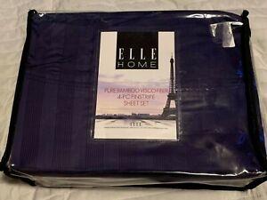Elle Home Pure Bamboo Visco Fiber 4 Piece Sheet Set King Size Pinstripe Blue