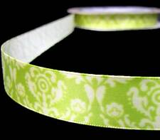 "3 Yds Fancy Pants Tradition Green Damask Satin Ribbon 3/4""W"
