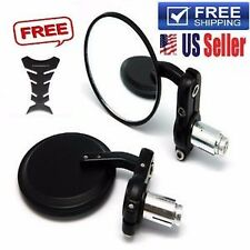 "BLACK Motorcycle 3"" Round 7/8"" Handle Bar End Rearview Side Mirrors Bike Harley"