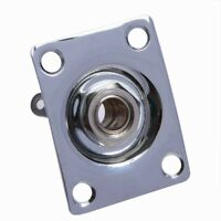 Chrome Square Output Plate with Jack for Electric Guitar
