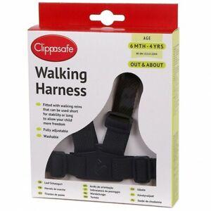 Clippasafe Adjustable Safety Strap Easy Walking Harness for Toddler Kids - Black