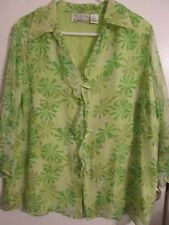 New York City Design Co Woman 3/4 Sleeve Floral Geometric All Silk Blouse, Sz 1X