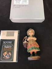 """Wood Anri Italy Bewildered Girl Duck Goose Basket Ltd Ed # 284 Tag Signed 6"""" Box"""