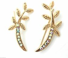 New Gold Ear Cuff Pins Trails up Lobe Earrings Wrap Pair Leaf AB Crystals