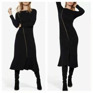 Mint Velvet Jumper Dress Viscose fit Flare Blck Zip 12 Frill Long sleeve midi V6