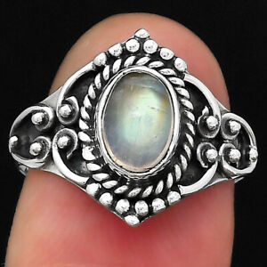 Natural Rainbow Moonstone - India 925 Sterling Silver Ring s.7 Jewelry E149