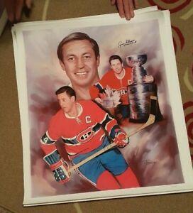 Jean Beliveau Autographed Montreal Canadiens Lithograph 25x28