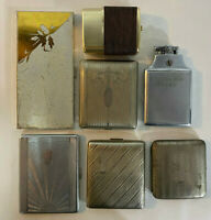 Lot of 7 Vintage Cigarette Cases Metal Silvertone Evans Ronson USMC Used