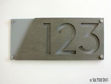 Modern House Numbers, Concrete & Gray Acrylic - Sign Plaque - Home Address