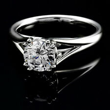 Solitaire Double Prong .48 Carat VS2/E Round Diamond Engagement Ring White Gold