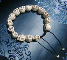 Weiße Totenkopf HandMALA Mala Gebetskette Yak-Knochen NEPAL tolle Verarbeitung!