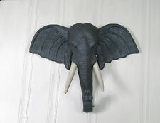 LARGE POLY RESIN ELEPHANT HEAD WALL HANGING SAFARI THEME AWESOME ITEM! LOOK!!!