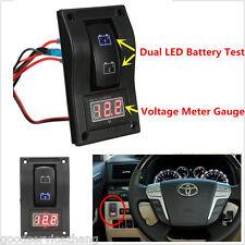Marine Dual LED Battery Test Switch Panel LED Voltage Meter Gauge Voltmeter 12V