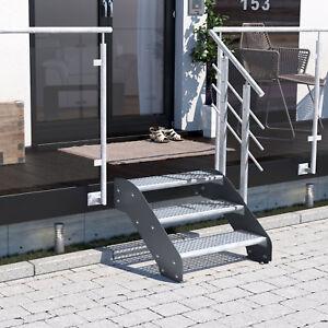Altona II 3 Stufen - lackierte Metalltreppe Gartentreppe Aussentreppe Gitterrost