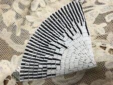 DECO FAN BEADED APPLIQUE Black & White Mix Glass Beads Roaring 20's 1pc headband