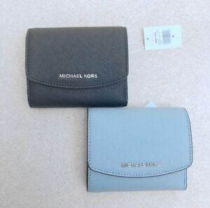 BNWT RRP$159 MICHAEL KORS Small Leather Trifold Wallet Clutch Purse Black Blue