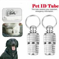 2pcs Pet Dog Anti-Lost Puppy ID Address Name Label Tag Barrel Tube Collar Leash