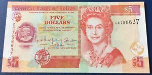 Belize - 5 Dollars 1.1.2002 P#61b Uncirculated