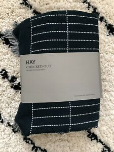 New HAY Danish Design 100% Merino Wool 'Checked Out' Large Blanket