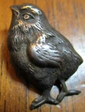 """1940s French White Metal Button~""""REALISTIC CHICK BIRD"""" Vintage Antique Picture"""