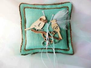 Rustic weddings Turquoise burlap ring bearer cushion, love birds ring pillow, Ha