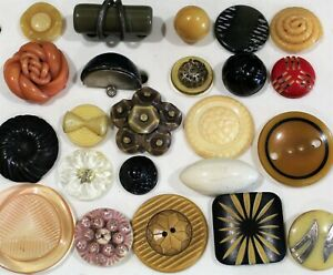 Lot of 23 Great Celluloid Buttons-rhinestone, extruded, carved-99 CENT START
