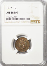 1877 1c Indian Head Penny One Cent AU58 BN Rare Key Date Low Mintage