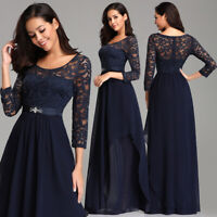 US Ever-Pretty Lace Sleeves Long Formal Evening Party Dresses Wedding Prom Gowns