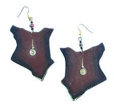 GORGEOUS unique BROWN colour wood TRIBAL KENYA MAP dangle drop earrings LADIES