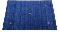 Gabbeh Blau Teppich 120x180 cm Handgewebt 100% Wolle Lori Buff Debbich Handloom