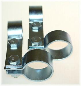 """2x Doppel-DIN-Schelle 42,5mm Stahl verzinkt 1.65"""" Zoll Strebenschelle Breitband"""