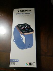 GENUINE NEXT Sport Band Straps for Apple Watch 38/40mm Lavender Gray- OPEN BOX