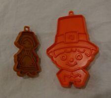 2 PILGRIM Hallmark Cookie Cutter VINTAGE Plastic BOY GIRL WOMAN Orange Brown