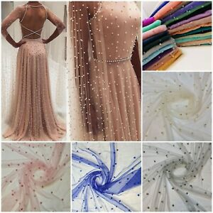 """Tulle Beaded Pearl Lace Net Fabric Bridal Veil Wedding Backdrop Décor 58"""" Meter"""