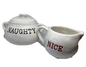 Pottery Barn Cream And Sugar Set Naughty Or Nice Christmas Red Black Print Gift